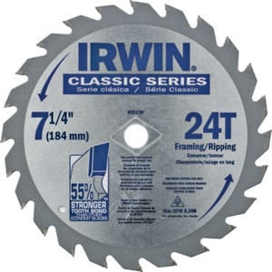 """IRWIN CLASSIC 7-1/4"""" 24 TOOTH CARBIDE TIPPED SAW BLADE"""